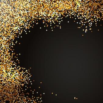 Décoration de paillettes de vacances sur fond noirpulvérisation de confettis dorés effet scintillant de noël