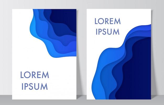 Décoration de papier abstrait tons bleus réalistes pour la conception. mise en page de conception pour des présentations, des dépliants, des affiches.