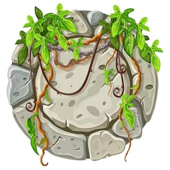 Décoration de planche de pierre feuilles de liane.