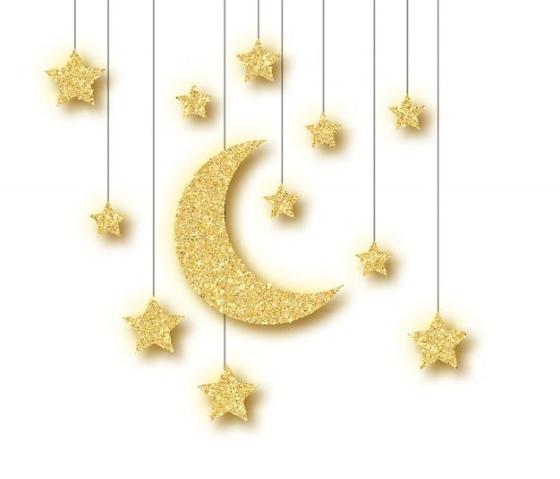 Décoration ramadan dorée isolée sur fond blanc.