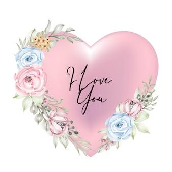 Décoration rose saint valentin forme avec je t'aime mot script fleur aquarelle