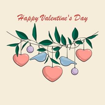 Décoration de saint valentin avec coeurs, oiseaux, feuilles et boules