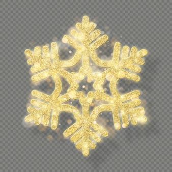 Décoration de texture de noël riche avec bokeh doré pailleté. briller le flocon de neige isolé sur fond transparent.