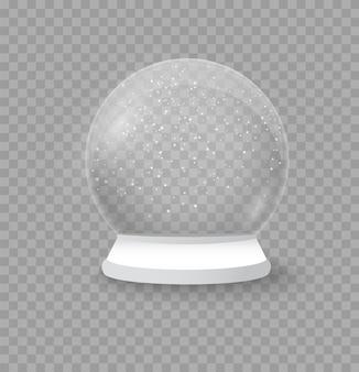 Décoration de vacances réaliste boule de neige de noël hiver dans un dôme en cristal de boule de verre avec flocon de neige