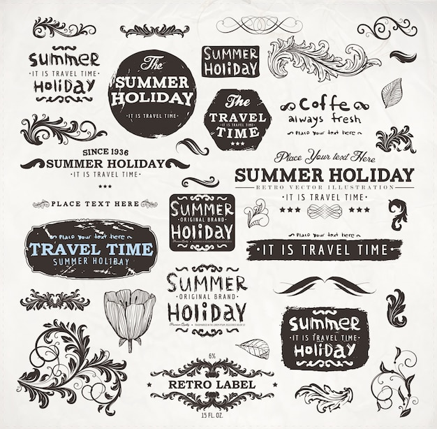 Décoration vintage frame typographic fleuri