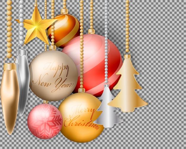 Décorations et accessoires pour boules de noël en or