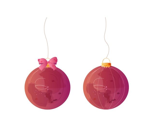 Décorations aquarelles boules de noël rouges