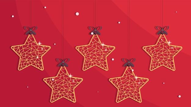 Décorations d'arbre de noël fond de noël avec des étoiles