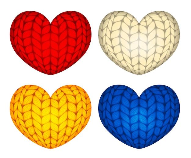 Décorations de coeur en peluche vecteur tricoté