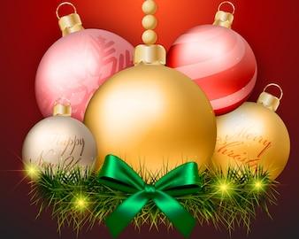 Décorations de boules de Noël sur fond rouge