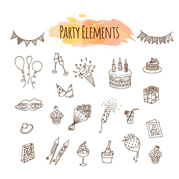 Décorations et éléments de fête dessinés à la main.