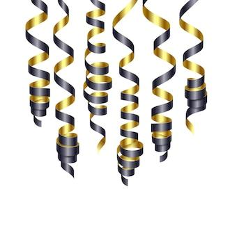Décorations de fête banderoles noires et dorées ou rubans de fête de curling. illustration vectorielle eps140