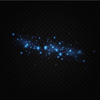 Décorations de fond de particules de lumière de poussière bleue