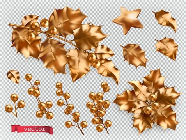 Décorations de noël. jeu d'icônes réalistes de houx doré