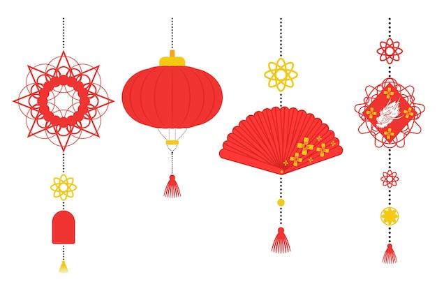 Décorations de nouvel an chinois vector ensemble plat isolé sur un blanc