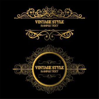 Décorations vintage éléments et cadres couleur or
