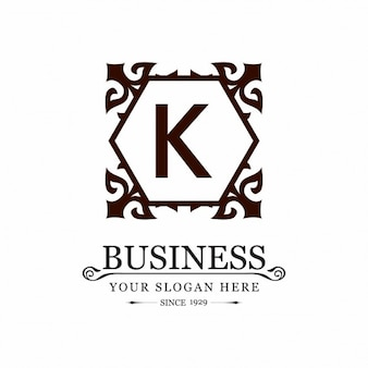 Decorative floral frame k logo