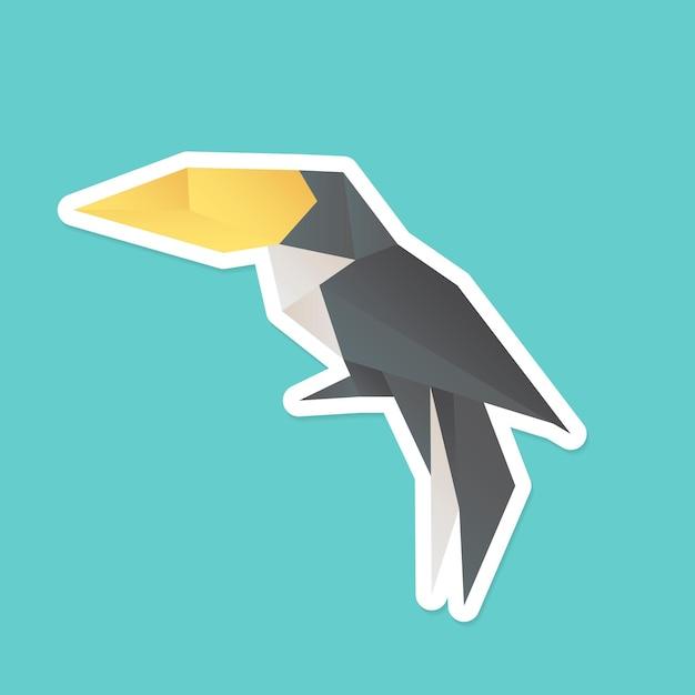 Découpe géométrique de vecteur mignon artisanat toucan