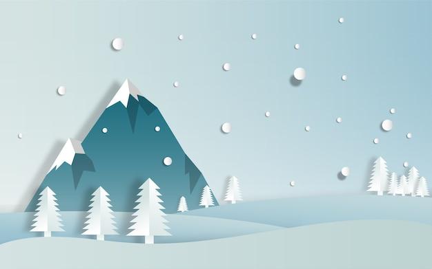 Découpe de papier de paysage d'hiver