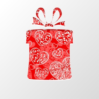 Découpez le papier en forme de boîte-cadeau, fond rempli de coeurs