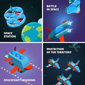 Découverte des voyages spatiaux. spaceman ou astronaute à l'explorateur d'orbite avec le vaisseau spatial à la station de métro interstellaire