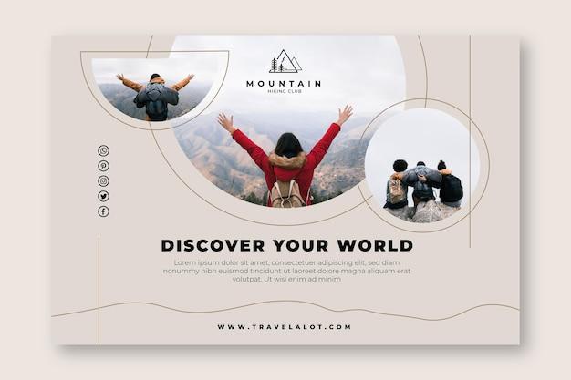 Découvrez votre modèle de bannière de randonnée dans le monde