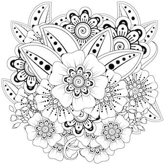 Décrire l'arrangement floral dans le style mehndi.