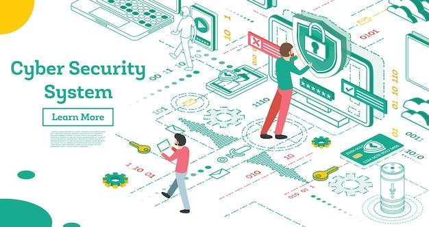 Décrire le concept de cybersécurité. illustration isométrique isolée sur blanc. concept de protection des données. vérification de carte de crédit et données d'accès au logiciel comme confidentielles. illustration vectorielle.