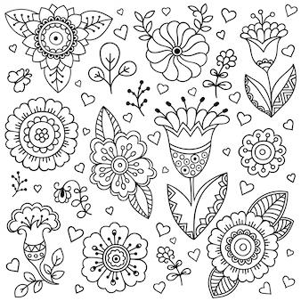 Décrire les éléments floraux décoratifs dessinés à la main dans un style doodle