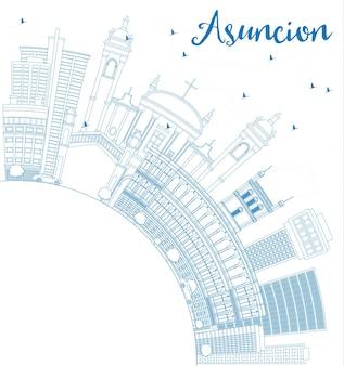 Décrire l'horizon d'asuncion avec les bâtiments bleus et l'espace de copie. illustration vectorielle. concept de voyage d'affaires et de tourisme à l'architecture moderne. image pour la bannière de présentation et le site web.