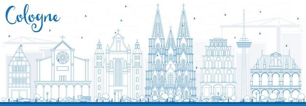 Décrire l'horizon de cologne avec des bâtiments bleus. illustration vectorielle. concept de voyage d'affaires et de tourisme avec architecture historique. image pour la bannière de présentation et le site web.