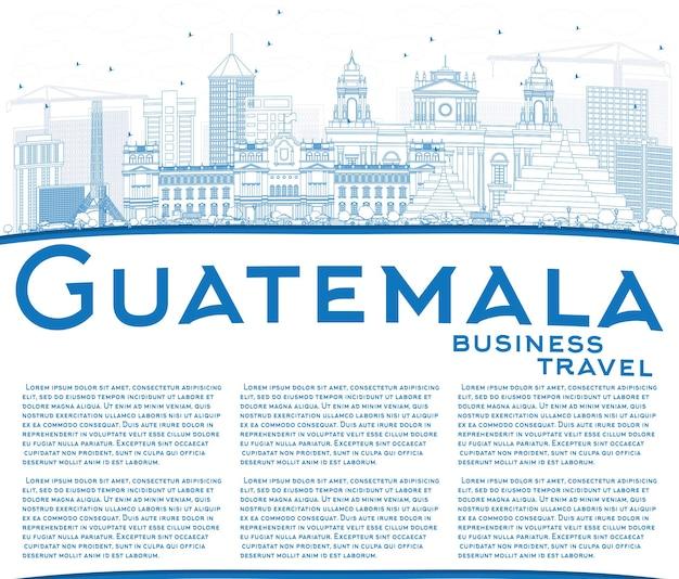 Décrire l'horizon du guatemala avec des bâtiments bleus et un espace de copie. illustration vectorielle. concept de voyage d'affaires et de tourisme à l'architecture moderne. image pour la bannière de présentation et le site web.