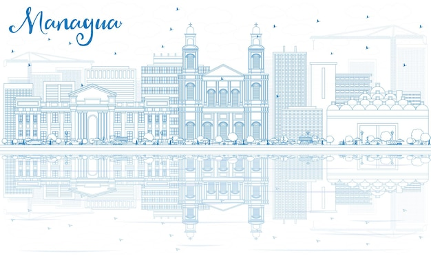 Décrire l'horizon de managua avec des bâtiments bleus et des reflets. illustration vectorielle. concept de voyage d'affaires et de tourisme à l'architecture moderne. image pour la bannière de présentation et le site web.