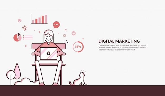 Décrire l'illustration du marketing numérique