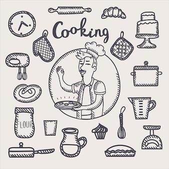 Décrire l'illustration en noir et blanc du chef tenant une assiette de nourriture dans sa main et ensemble d'outils et d'éléments de cuisine drôle