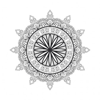 Décrire le mandala pour le livre de coloriage. ornement rond décoratif. modèle de thérapie anti-stress. élément de conception d'armure. logo de yoga, arrière-plan pour affiche de méditation. forme de fleur inhabituelle vecteur de ligne orientale.
