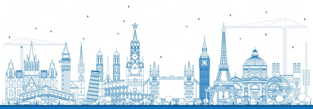Décrire les monuments célèbres en europe. illustration vectorielle. concept de voyage d'affaires et de tourisme. image pour présentation, bannière, pancarte et site web