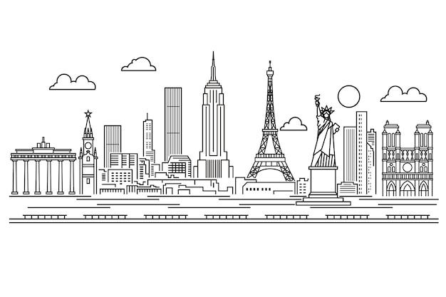 Décrire les monuments skyline noir et blanc