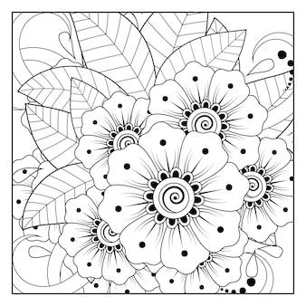 Décrire le motif de fleurs carrées dans le style mehndi pour l'ornement de doodle de page de livre de coloriage en illustration de tirage à la main en noir et blanc