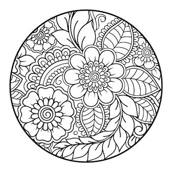 Décrire le motif de fleurs rondes dans le style mehndi pour la page du livre de coloriage. antistress pour adultes et enfants. ornement de griffonnage en noir et blanc. main dessiner illustration vectorielle.