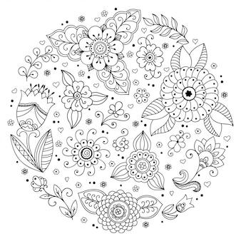 Décrire le motif de fleurs rondes dans le style mehndi pour la page du livre de coloriage. ornement de doodle en noir et blanc. tirage à la main.