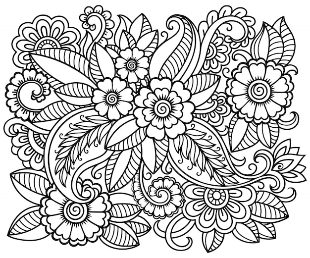 Décrire le motif floral carré dans le style mehndi pour la page du livre de coloriage. antistress pour adultes et enfants. ornement de doodle en noir et blanc. illustration de tirage à la main.
