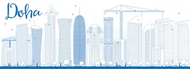 Décrire la skyline de doha avec des gratte-ciels bleus.