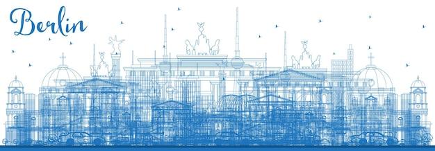 Décrire les toits de berlin allemagne avec des bâtiments bleus. illustration vectorielle. concept de voyage d'affaires et de tourisme avec architecture historique. paysage urbain de berlin avec des points de repère.