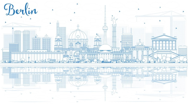 Décrire les toits de berlin avec des bâtiments bleus et des reflets. illustration vectorielle. concept de voyage d'affaires et de tourisme avec architecture historique.