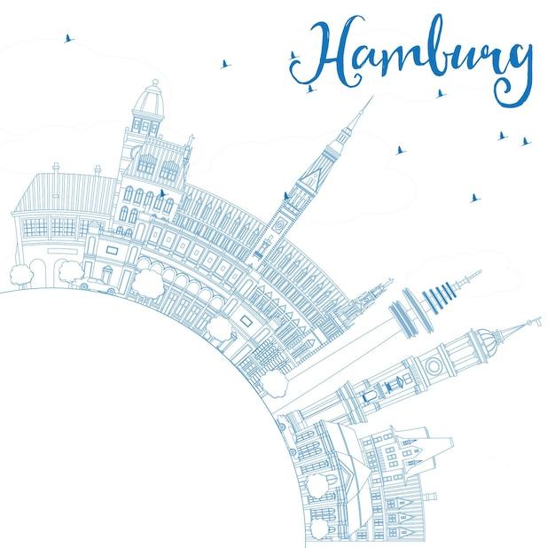 Décrire les toits de hambourg avec les bâtiments bleus et l'espace de copie. illustration vectorielle. concept de voyage d'affaires et de tourisme avec architecture historique. image pour la bannière de présentation et le site web.