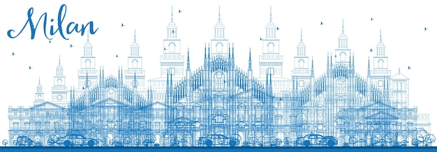 Décrire les toits de milan avec des points de repère bleus. illustration vectorielle. concept de voyage d'affaires et de tourisme avec des bâtiments historiques. image pour la bannière de présentation et le site web.