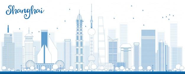 Décrire les toits de shanghai avec des gratte-ciel bleus.