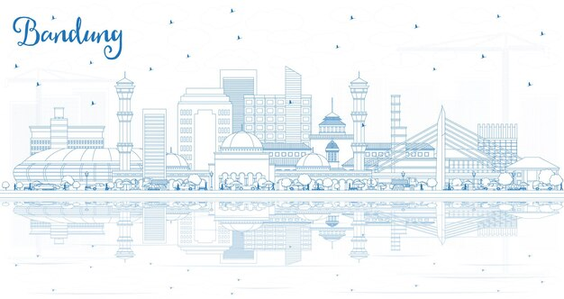 Décrire les toits de la ville de bandung en indonésie avec des bâtiments bleus et des reflets. illustration vectorielle. concept de voyage d'affaires et de tourisme avec architecture historique. paysage urbain de bandung avec des points de repère.