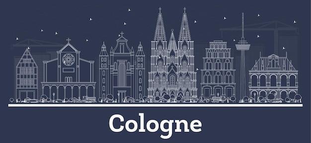 Décrire les toits de la ville de cologne en allemagne avec des bâtiments blancs